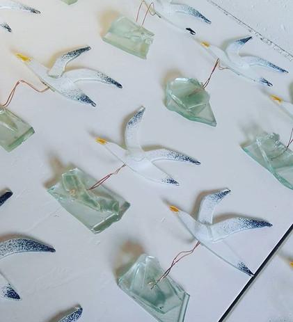 Möwen aus Recycling Glas