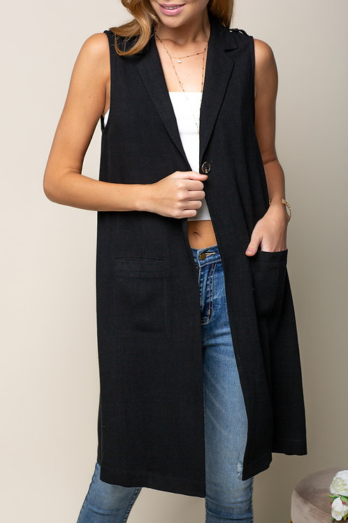 Long Vest With Front Pocket
