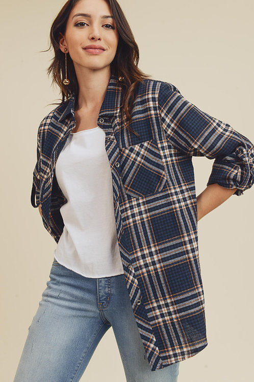 Plaid Shirt With Roll Up Sleeve