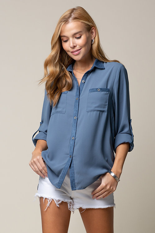 Suede Contrast Button Down Shirt