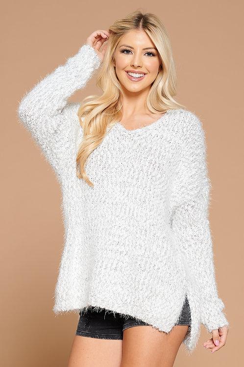 Fuzzy Knit V-Neck Sweater
