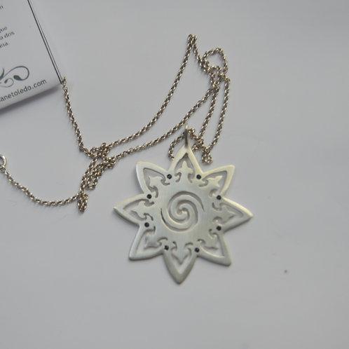 Mandala Espiral de Prata Onix
