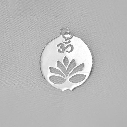 Mandala Flor de Lotus Om de Prata