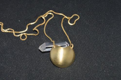 Colar difusor Prata com banho ouro Meia Lua