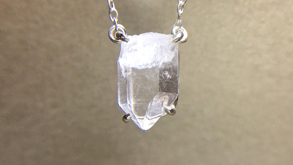 Hyaline Quartz Necklace / claw pendant