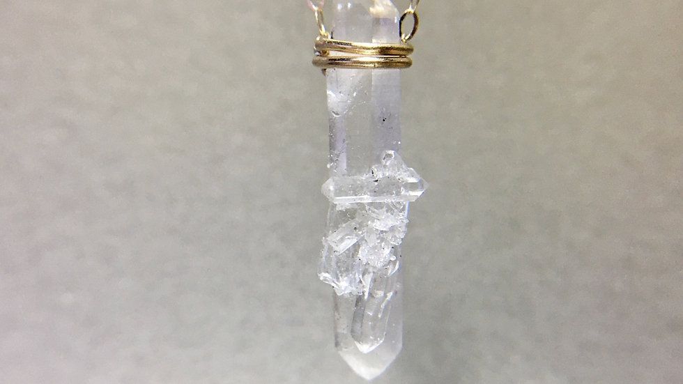 Hyaline Quartz 18k Gold Necklace