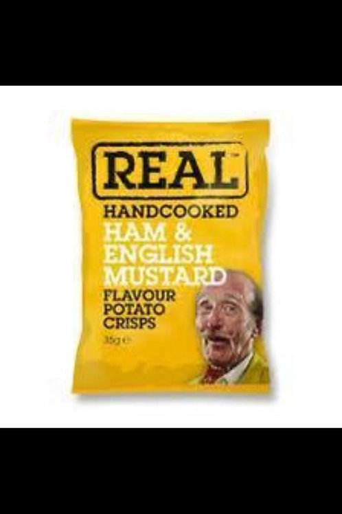 Real hand cooked ham and mustard crisps 5 x 35g