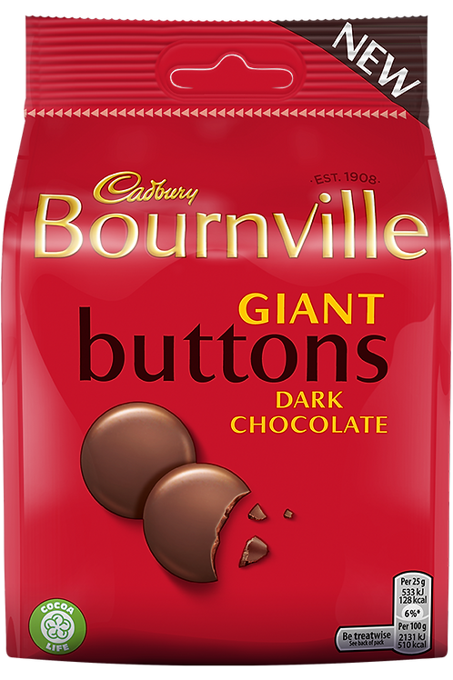 Bournville giant buttons 2 x 95g