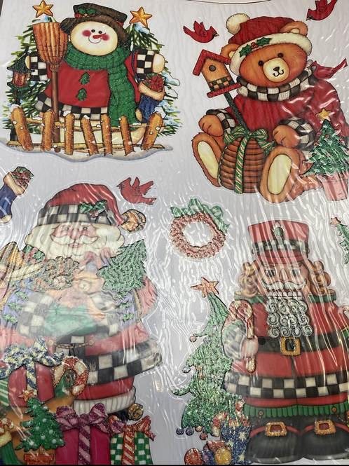 Christmas window stickers  3 packs for