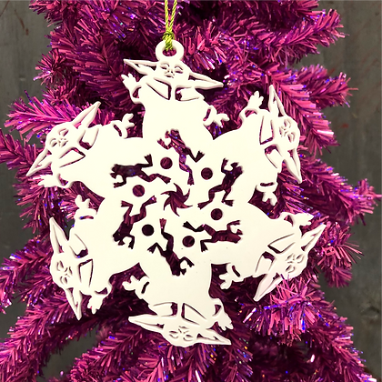 Baby Yoda inspired snowflake Ornament