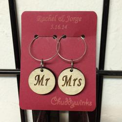 Mr & Mrs wine charms