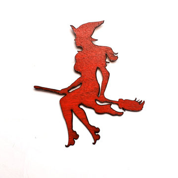Roller Witch on Broomstick Wall Art