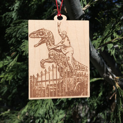 ornament wood 3in dino free