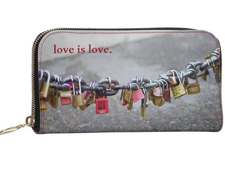 """The Jules  All Leather Wallet Purse  in """"Locks of Love,"""" Paris"""