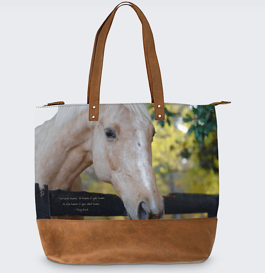 """The Meara May Leather Tote in """"Wood Road"""""""