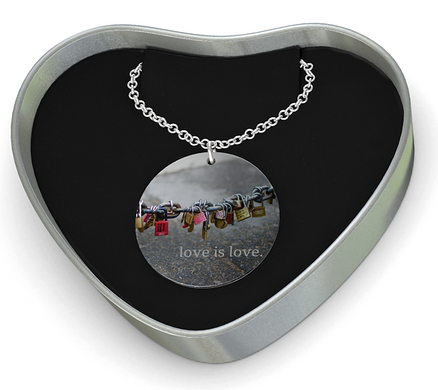 """Sterling Silver Disc Pendant Necklace in """"Locks of Love,"""" Paris"""