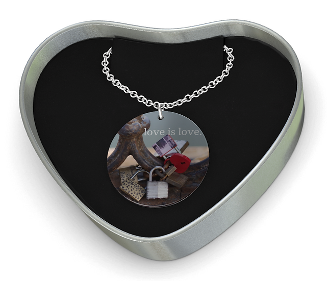 """Sterling Silver Disc Pendant and Necklace in """"Locks of Love,"""" Rome"""