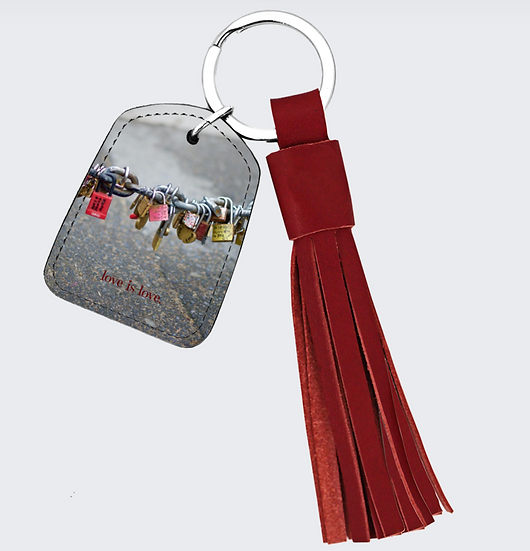 "Red Leather Tassel & Key Chain in ""Locks of Love,"" Paris"