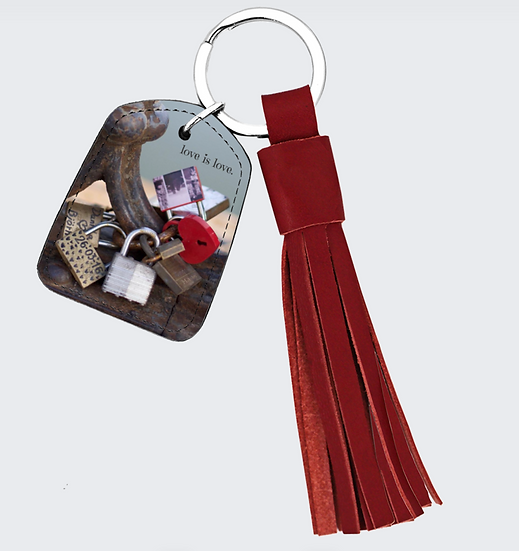 "Red Leather Tassel & Keychain in ""Locks of Love,"" Rome"