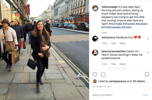 Instagram picture of a pregnant woman smiling on Regent Street, London