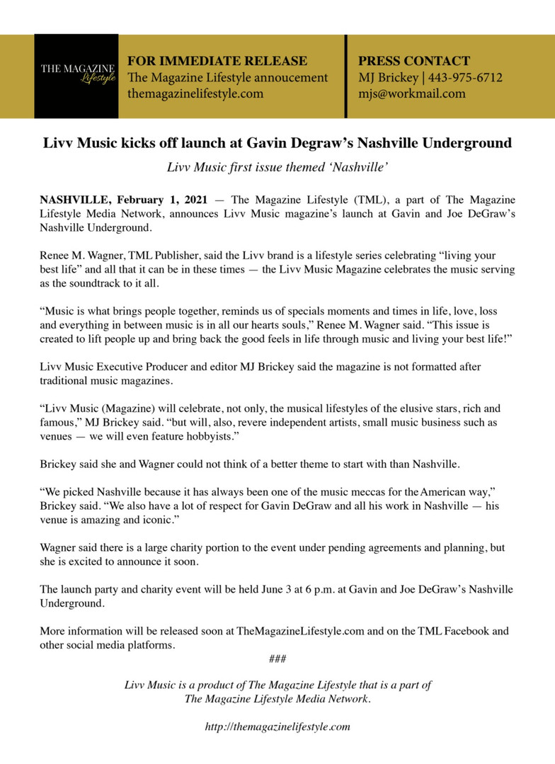 Livv Music Press Release