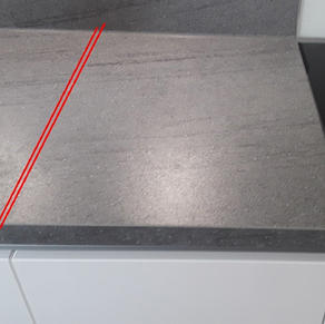 Worktop mitred (should be one continous strip)