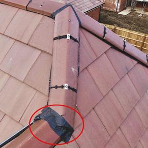 Duct tape on ridge tile