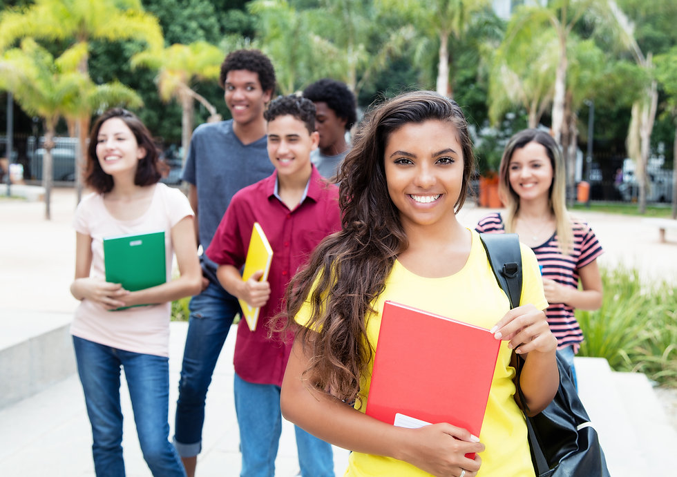 Latin american female student with group