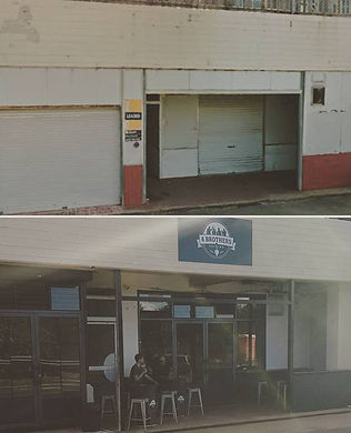 Before and after external photo of our brewery
