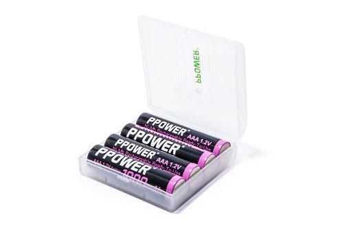 Ppower - 1x 4槽 AAA 1.2V可充電鎳氫電池盒(不包括電池)