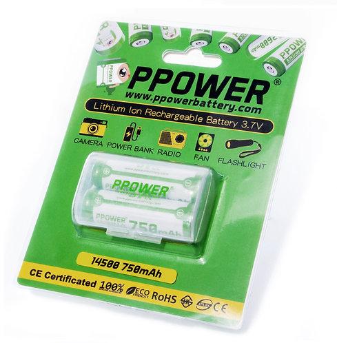 Ppower 14500 3.7V 750毫安 鋰離子充電電池
