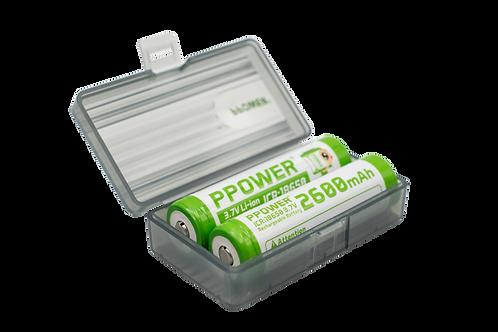 Ppower - 1 x 2槽 18650 3.7V可充電鋰電池灰色盒(不包括電池)
