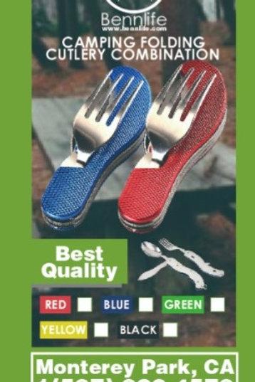 Bennlife賓尼生活  野營折疊刀叉勺組合餐具(戶外露營多功能餐刀,不銹鋼便攜可拆分)