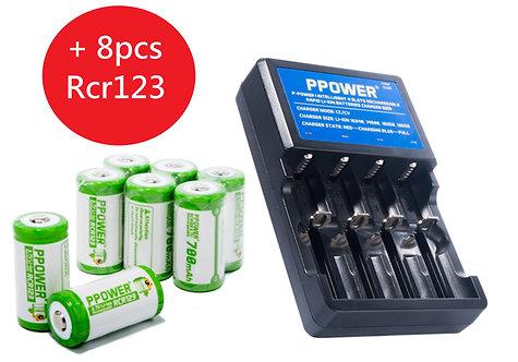 Ppower CR123 3.7V 700毫安 鋰離子充電電池+ 4槽3.7V 鋰電池充電器(認證, 適用於ARLO)