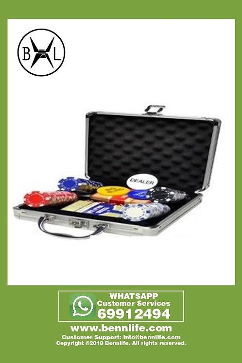 Bennlife賓尼生活 100片籌碼鋁盒套裝 德州撲克籌碼100片套裝麻將牌籌碼幣(銀色盒)