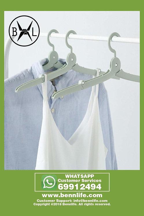 Bennlife賓尼生活 迷你便携式折疊旅行衣架 1個(綠色)