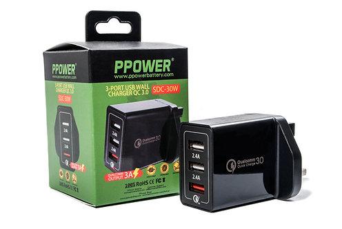 PPOWER 30W 3-port QC3.0 智能快速充電器
