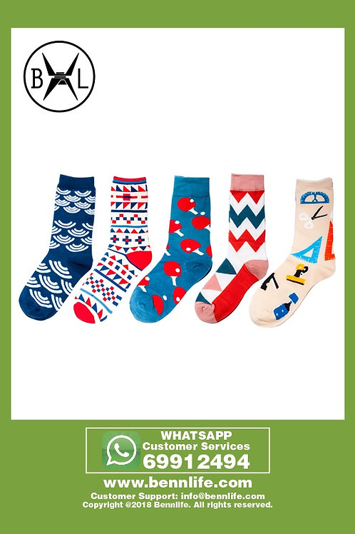 Bennlife賓尼生活 時尚有趣不同圖案的男女中長棉襪(5對)- 波浪/幾何/乒乓球/三角/文具