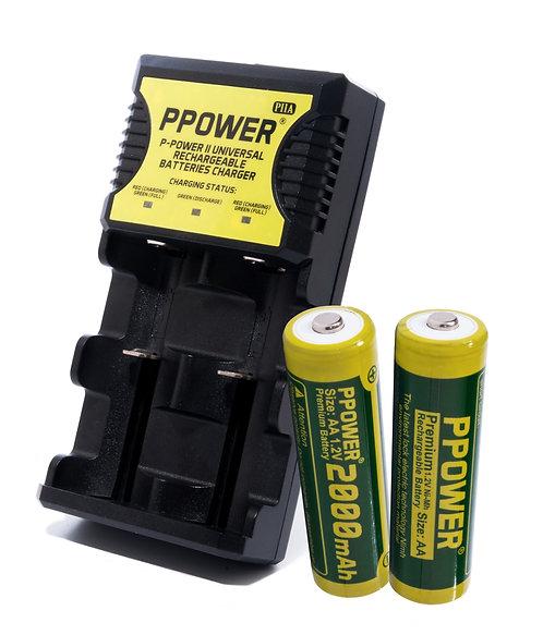 鎳氫充電池AA/AAA+ 1X 萬能兩槽充電器(PIIA)
