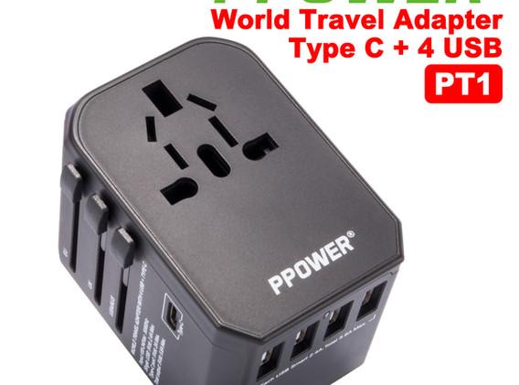 Ppower World travel Adapter(Type C + 4US