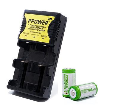 Ppower鋰電池CR123/18650/14500/26650+  1X 萬能兩槽充電器(PIIA)