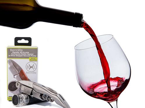 Bennlife 影木 海馬刀紅酒開瓶器及黑色真空泵