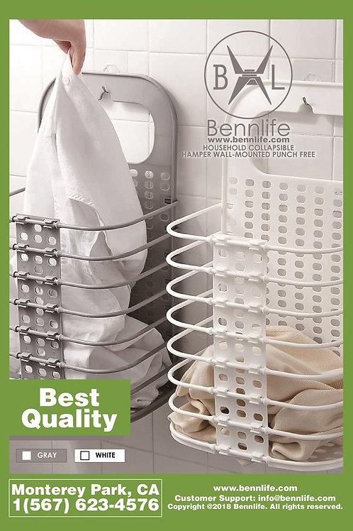 Bennlife賓尼生活  家用壁掛式- 免打窿折疊衣籃 (白色)