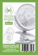 Bennlife 賓尼生活 USB電池雙用迷你桌上小風扇/嬰兒車風扇/三調風速可調(白色,1件)