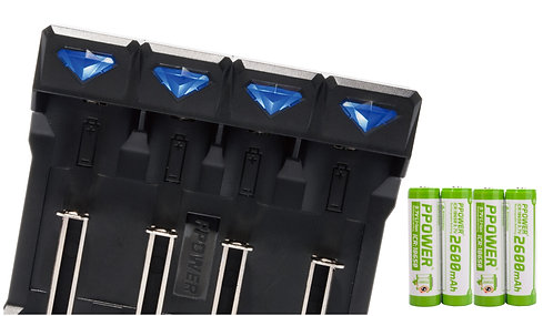 Ppower 18650 2600mah 3.7V充電鋰電池+4槽電池充電器(Z4)