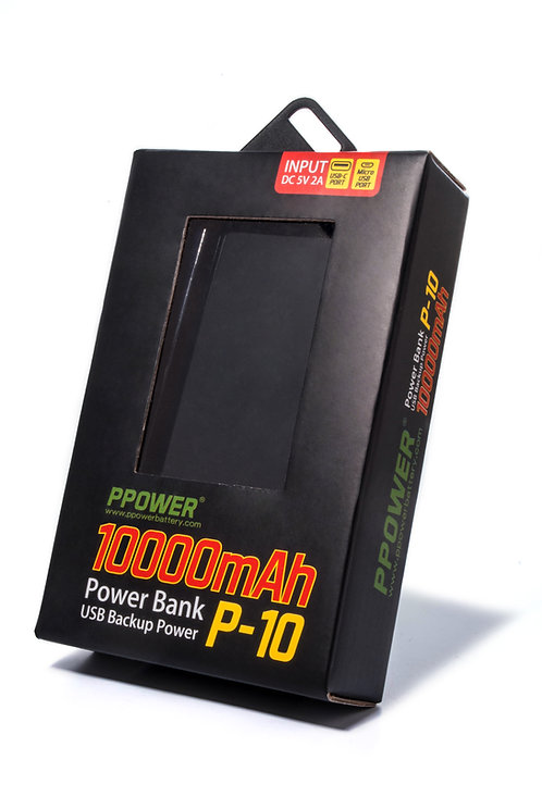 Ppower - LCD顯示屏 10000毫安黑色充電器 (P10)