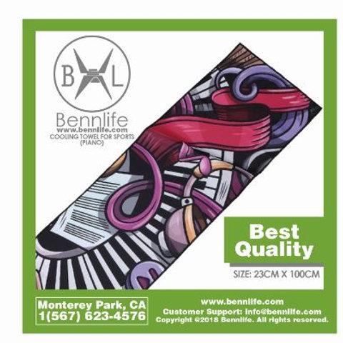Bennlife賓尼生活  冷卻毛巾 ( 鋼琴圖案)
