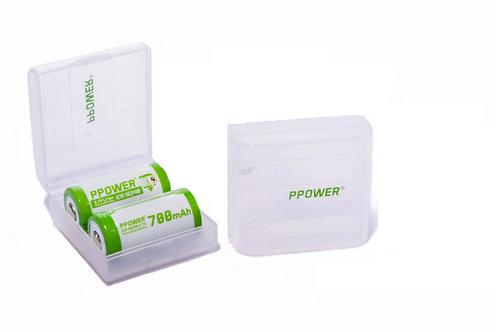 Ppower - 2X 2槽 CR123 700mAh 3.7V可充電鋰電池盒(不包括電池)