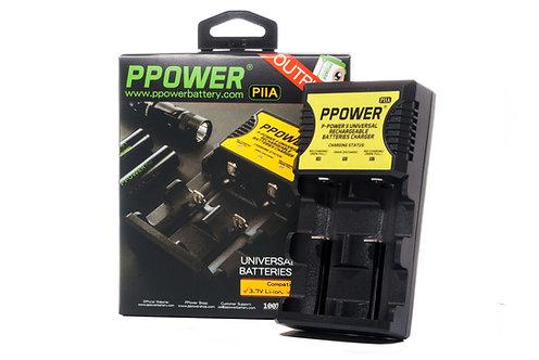 PPOWER 萬能2槽充電器 (不能充一次性電池包括3V cr123鋰電池, 或鹼性電池!)