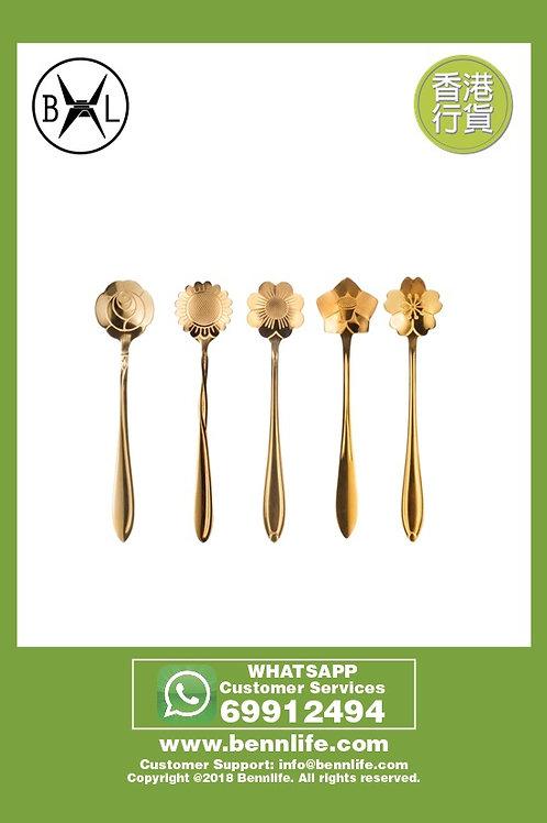 Bennlife賓尼生活 不銹鋼餐具創意花咖啡匙 (5件套)